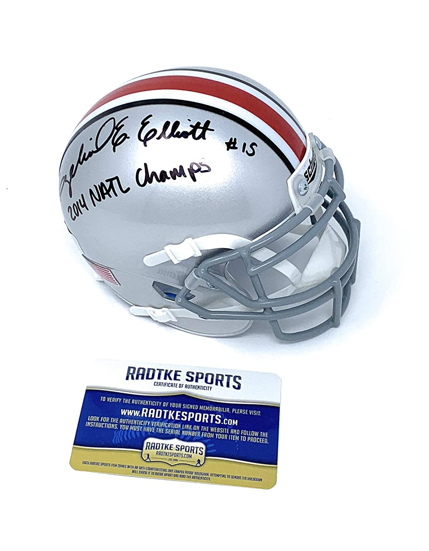 Ezekiel Elliott Ohio State Buckeyes Signed Autograph Mini Helmet National Champs Inscribed Certified