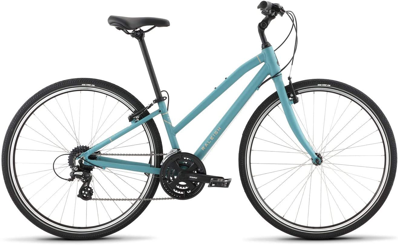 Blue colored Raleigh comfort bike with aluminum frame for women
