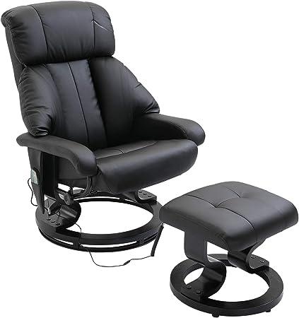 Homcom Fauteuil de Massage Relaxation Chauffage Electrique Repose Pied Noir