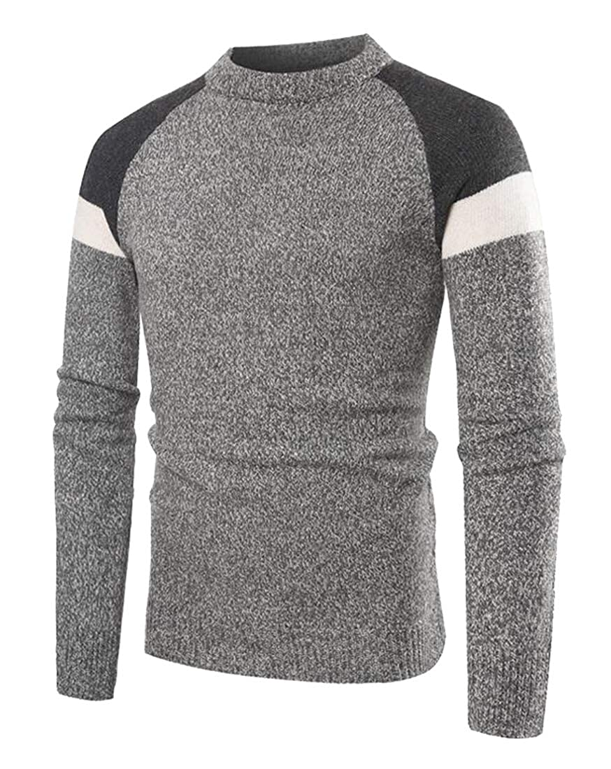 Suncolor8 Mens Round Neck Knitted Slim Contrast Casual Long Sleeve Pullover Sweater