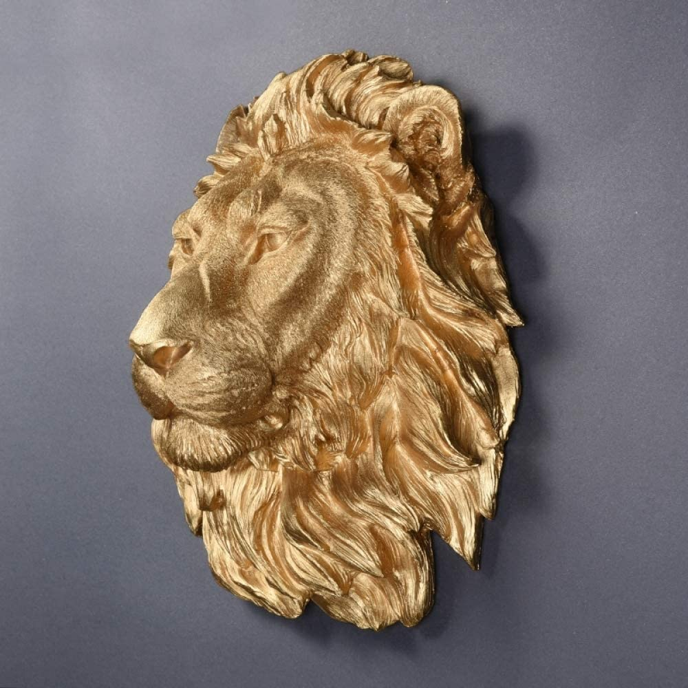 Figurines,Statues,Statuette,Sculptures,Large Size Gold Lion Head Animal Head Resin Pendant Wall Ornaments Home Accessories For Living Room Bedroom Bookcase Desktop Home Decoration Crafts And Gifts