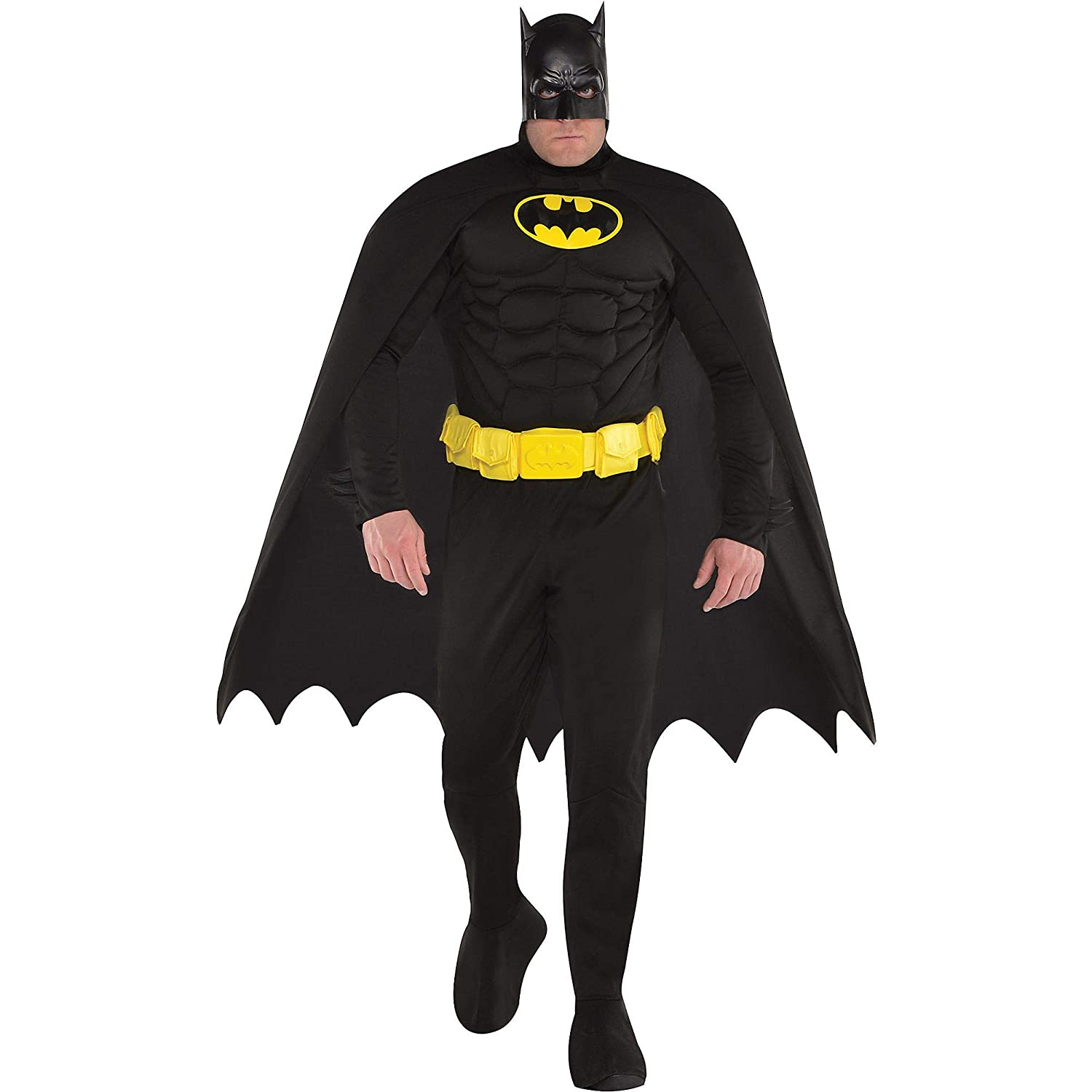 Costumes USA Batman Muscle Costume for Adults, Plus Size, Includes a Padded Jumpsuit, a Mask, and Attached Boot Covers