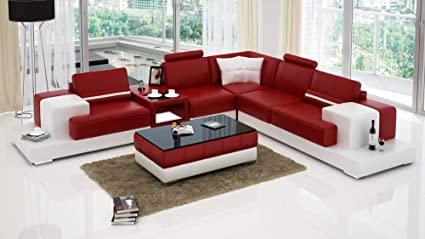 Amazon.com: My Aashis Luxury Modern Forrey - L - Leather Sofa Lounge ...