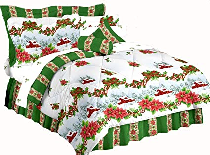 Christmas Comforter.Christmas Bedding Home For The Holiday S Green Red White Poinsettia Comforter Set 3pc Twin Size Comforter Set