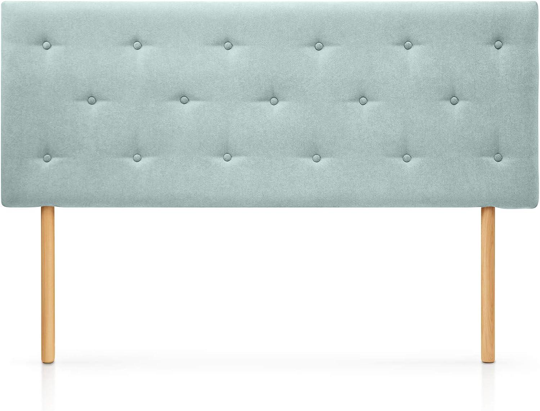 SUENOSZZZ-ESPECIALISTAS DEL DESCANSO Cabecero de Cama Helsinki con Patas nórdicas y tapizado en Tela para Camas de 90 (100 x 100 cm) Tela Verde Agua