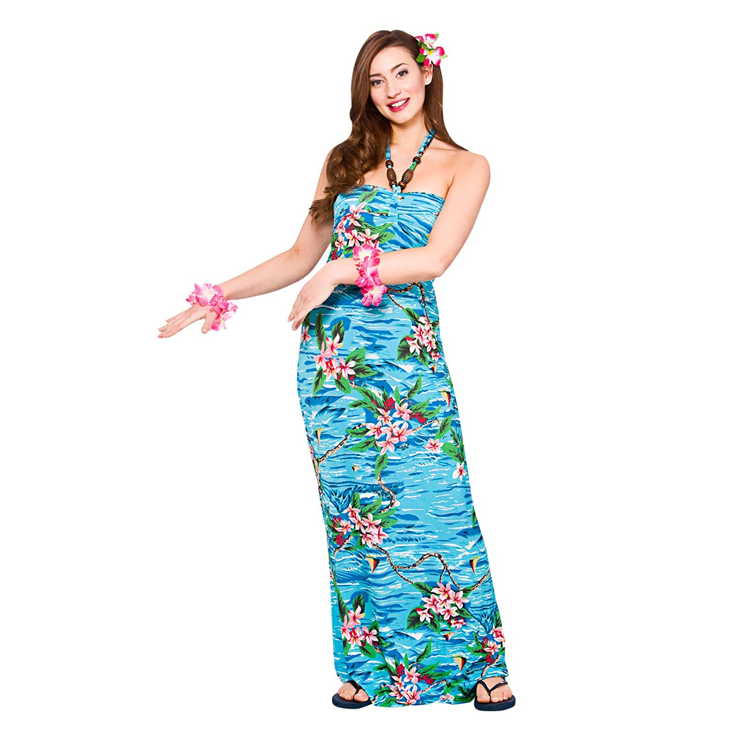 Ladies Maxi Orchid Ocean Dress Hawaiian Luau Fancy Dress Party ...