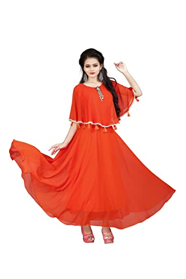 Aryan Enterprise Orange Womans Poncho Dress Amazonin Clothing