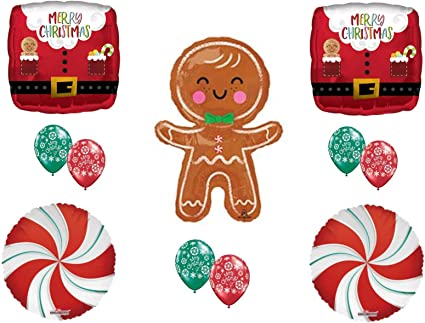 Merry Christmas Gingerbread House Balloon with Gingerbread Man