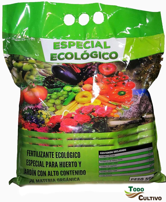 Abono ecológico orgánico con acidos humicos para 25 Metros Cuadrados de huerto. Bolsa 5 kg. Máxima Calidad, huerto Urbano, excelente para el Cultivo de Cannabis.