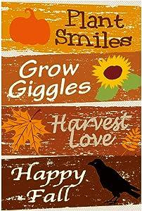"Texupday Happy Fall,Harvest Love Double Sided Burlap Garden Flag Pumpkin Sunflower Decor Autumn Harvest Blessing Outdoor Flag 12"" x 18"""