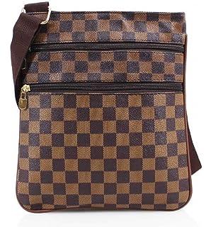 3bf718a63779 Designer Check Checkered Monogram Unisex Man Bag Saddle Cross Body  Messenger Record Bag…