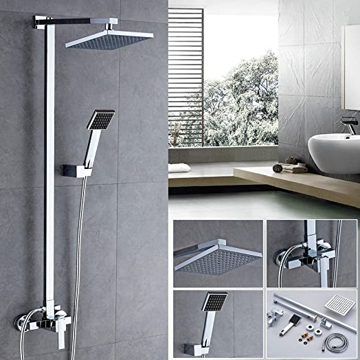 Auralum® 8 Inch Rain Shower Head Waterfall Design Overhead Tap SET Handheld  System