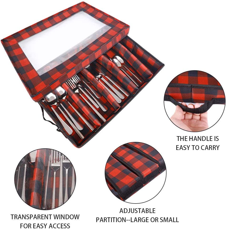 Flatware Drawer Organizer,Flatware Storage Chest, Flatware Storage Box with Lid, Transparent Window and 2 Handles, Organizer with 5 Compartments for Utensils/Silverware: Home Improvement