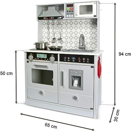 Leomark Grey Modern Cocina eléctrica Madera Infantil con Accesorios: Campana Extractora, microondas, cubitera - Color GRIS- Juguete para Niños Efectos ...