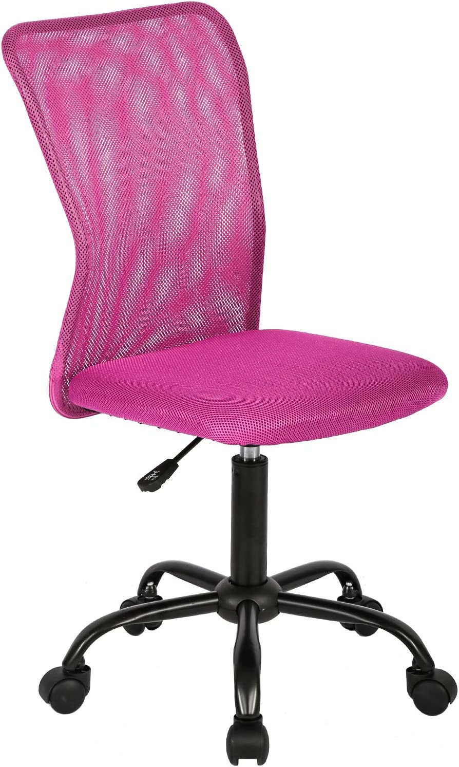 Ergonomic Office Chair Mesh Computer Chair Small Desk Chair Back Support Lumbar Support Modern Executive Adjustable Chair Mid Back Task Rolling Swivel Chair with Wheels Armless (Pink)