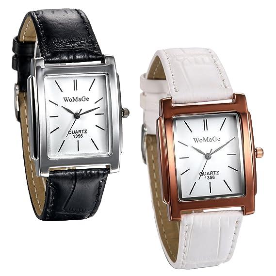 JewelryWe Reloj Cuadrado Mujer Analogico Reloj de Pulsera Correa de Cuero Blanco/Negro, Dial Pequeño Reloj Sencillo, Regalo de Navidad 2 Piezas: Amazon.es: ...