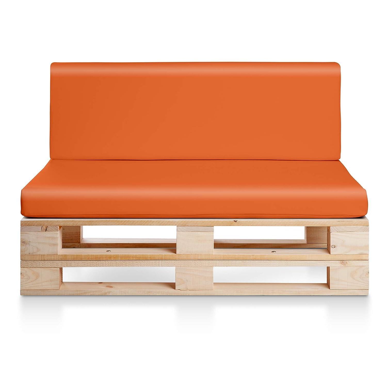 Sofa PALETS Madera para Jardin sin Barniz, Sillón Palet + colchonetas de Jardin, Cojines para pales de polipiel color Naranja. Palets Europeos con ...
