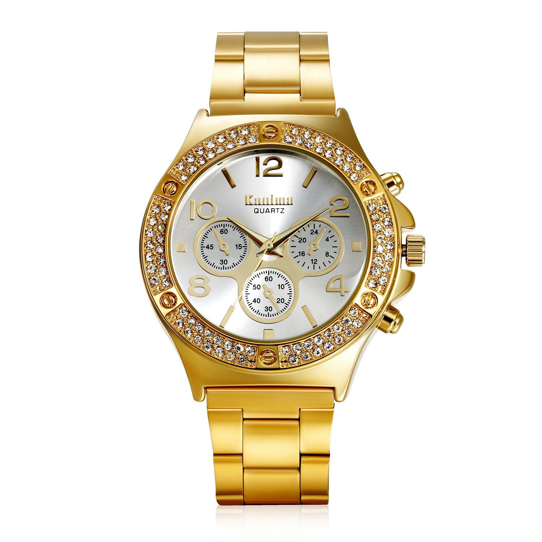 lancardo日本クォーツキラキラ光るDaulラインストーンベゼルゴールドトーン腕時計、30 M防水、ステンレスバンド(ゴールド) B077XSVV5Z