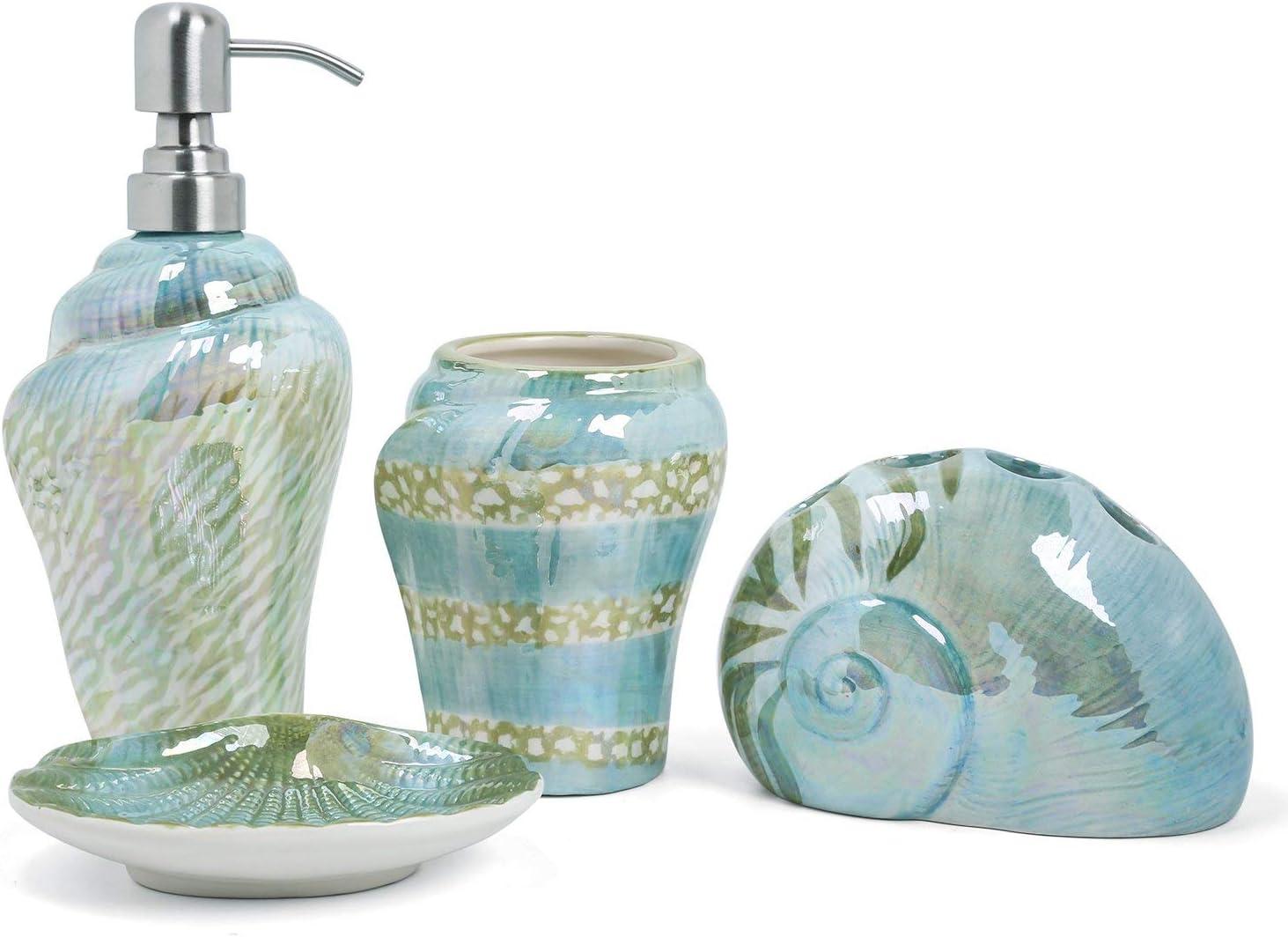 PEHOST Ceramic Bathroom Accessory Set Mediterranean Sea Snail Soap Dish Soap Dispenser Toothbrush Holder Tumbler Cup Verde
