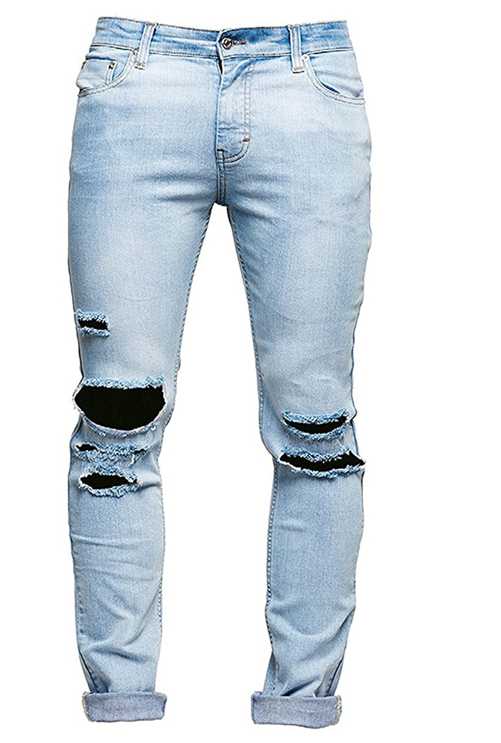 4363b3f6521 B Dressy Fashion Handsome Men s Skinny Ripped Washed Jeans Destroyed Knee  Holes Denim Broken Light Blue Pants at Amazon Men s Clothing store