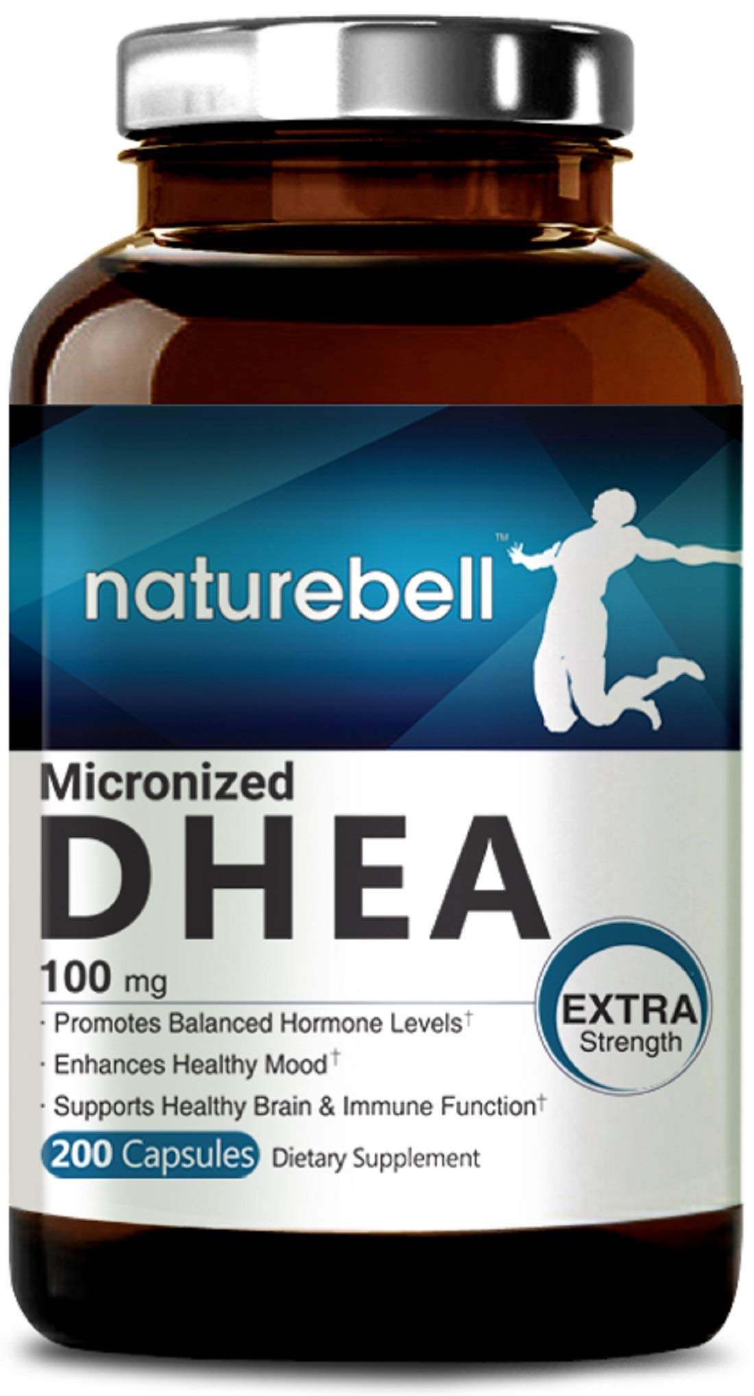 Maximum Strength DHEA 100mg, 200 Capsules, Supports Energy Level, Metabolism and Libido Health for Men and Women, No GMOs, Made in USA by NatureBell