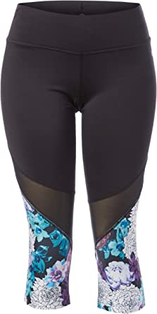 Pl Movement By Pink Lotus Women S Explosive Hybiscus Floral Printed Capri Legging Purple White Extra Small At Amazon Women S Clothing Store