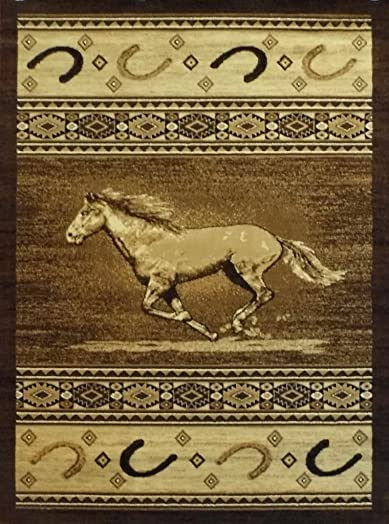 Cowboy Area Rug 372 Lodge 7 Feet 7 Inch X 10 Feet 6 Inch