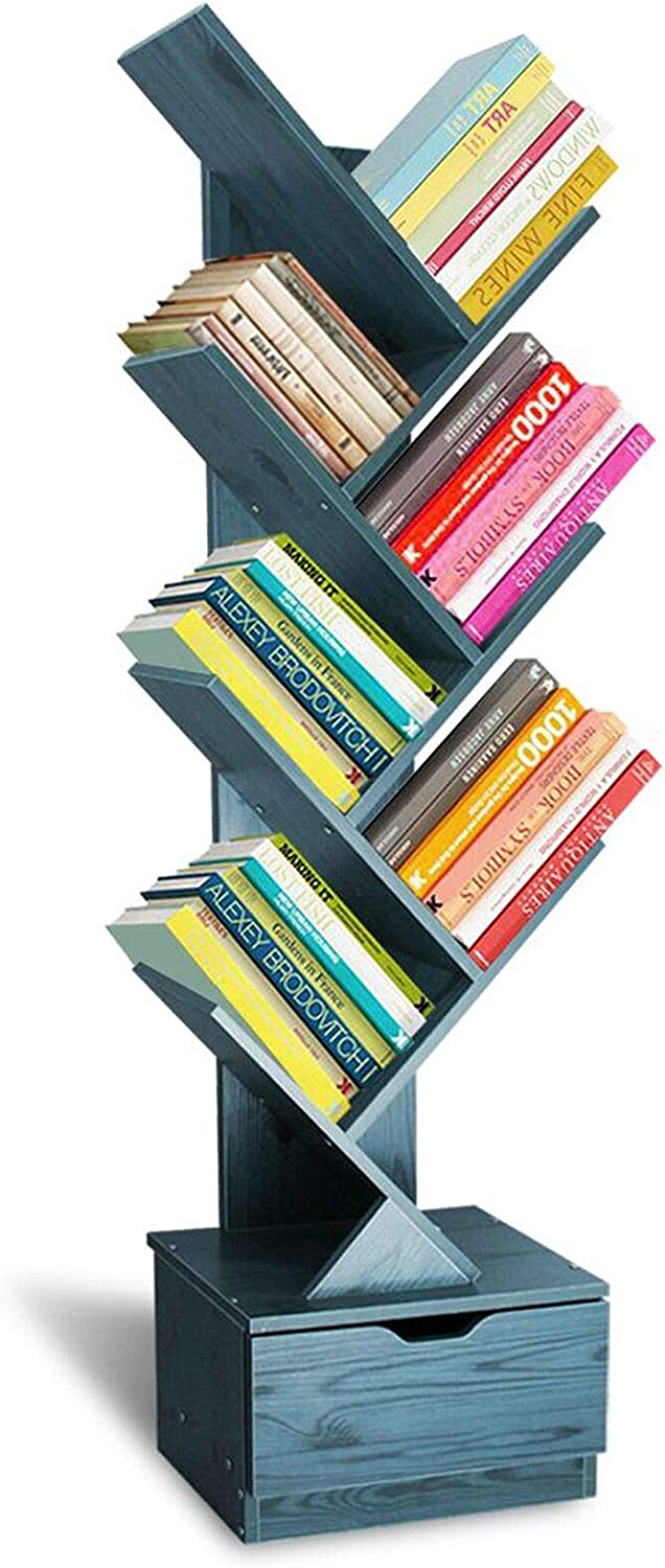 SHEEPAM Tree Bookshelf with Drawers, Free Standing Wood Bookcase for Living Room, Bedroom, Home Office, Space Saving Storage Organizer Bookshelves for Books, CDs, Vinyl Records- 8-Tier Navy Blue