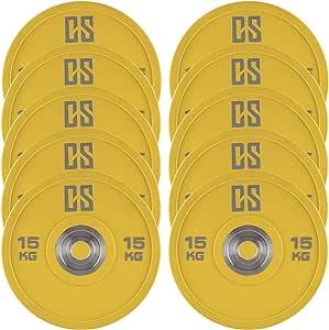 CAPITAL SPORTS Performan Discos de peso de uretano 5 parejas 15 kg amarillo (Poliuretano, Dead Bounce, ideal barra olímpica o Cross-Training, Weight Drops - Saques, baja fricción)