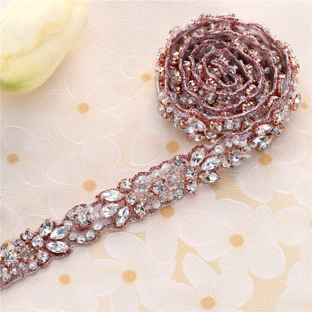 Rose Gold Wedding Crystal Sash Applique Sew Iron on Rhinestone Bridal Dress Belt Applique Sparkly for Bridesmaid Gown Women Prom Formal Dress Clothes Embellishments by XINFANGXIU (Image #1)