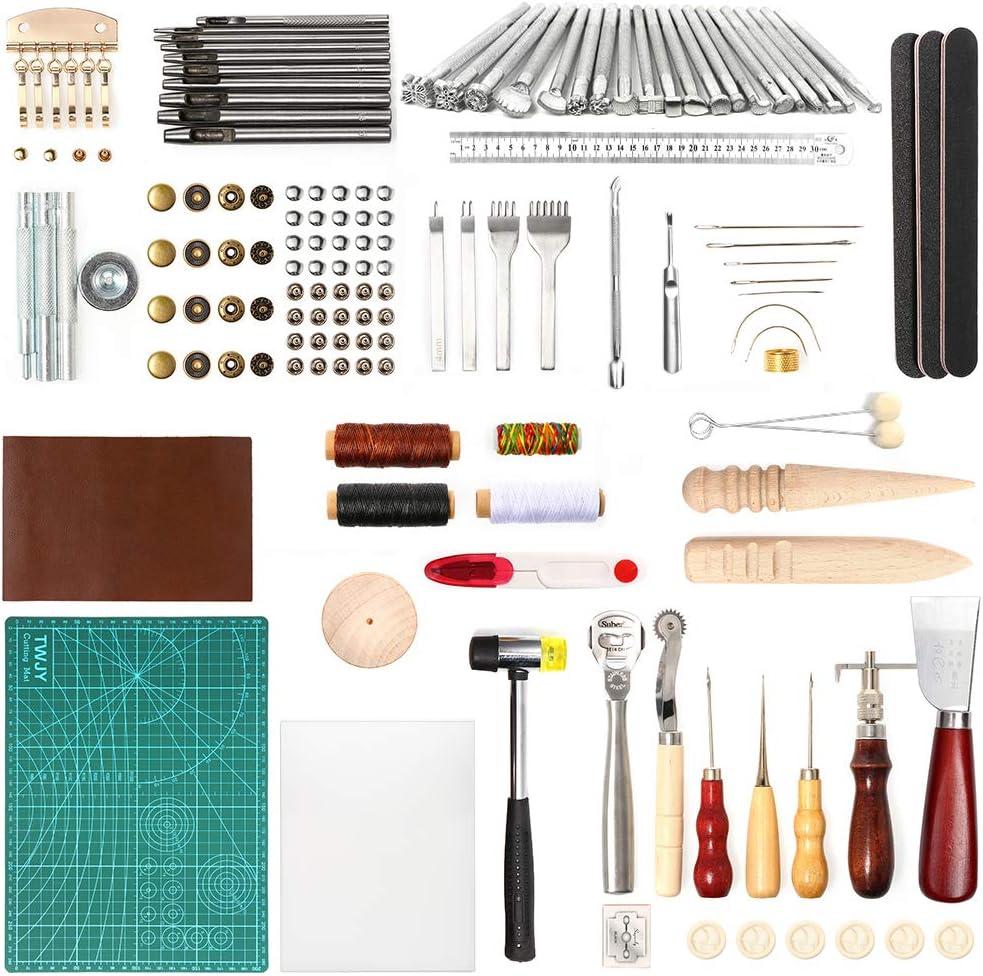 UHAPEER - Juego de herramientas de costura y artesanía de cuero, para hacer manualidades (71 piezas)