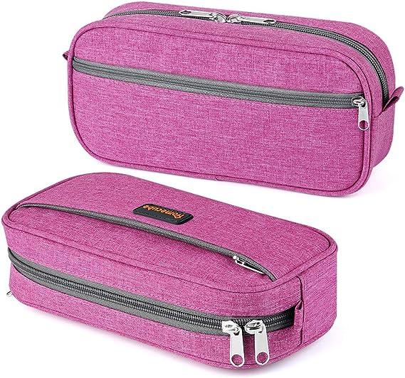 Estuche de lápices con compartimentos, bolsa de lápices Homecube de gran capacidad Bolso de bolígrafo con doble cremallera Bolso de maquillaje resistente al agua para niños y niñas, 23x12x6cm (rojo rosa): Amazon.es: