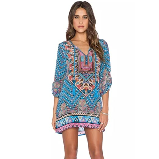 722dc467d1f0 Fanteecy Bohemian Vintage Printed Ethnic Style Summer Casual Shift Dress  Beach Cover up (S