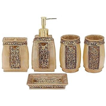 Resina 5pcs Accesorios Reales Conjuntos de Baño Porta Cepillo de Dientes (dorado): Amazon.es: Hogar