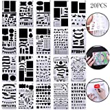nuosen Bullet Journal Stencils Set 20 PCS 4x7 inch Plastic Planner Stencil for Diary, Journal, Scrapbook, DIY Craft Drawing Template