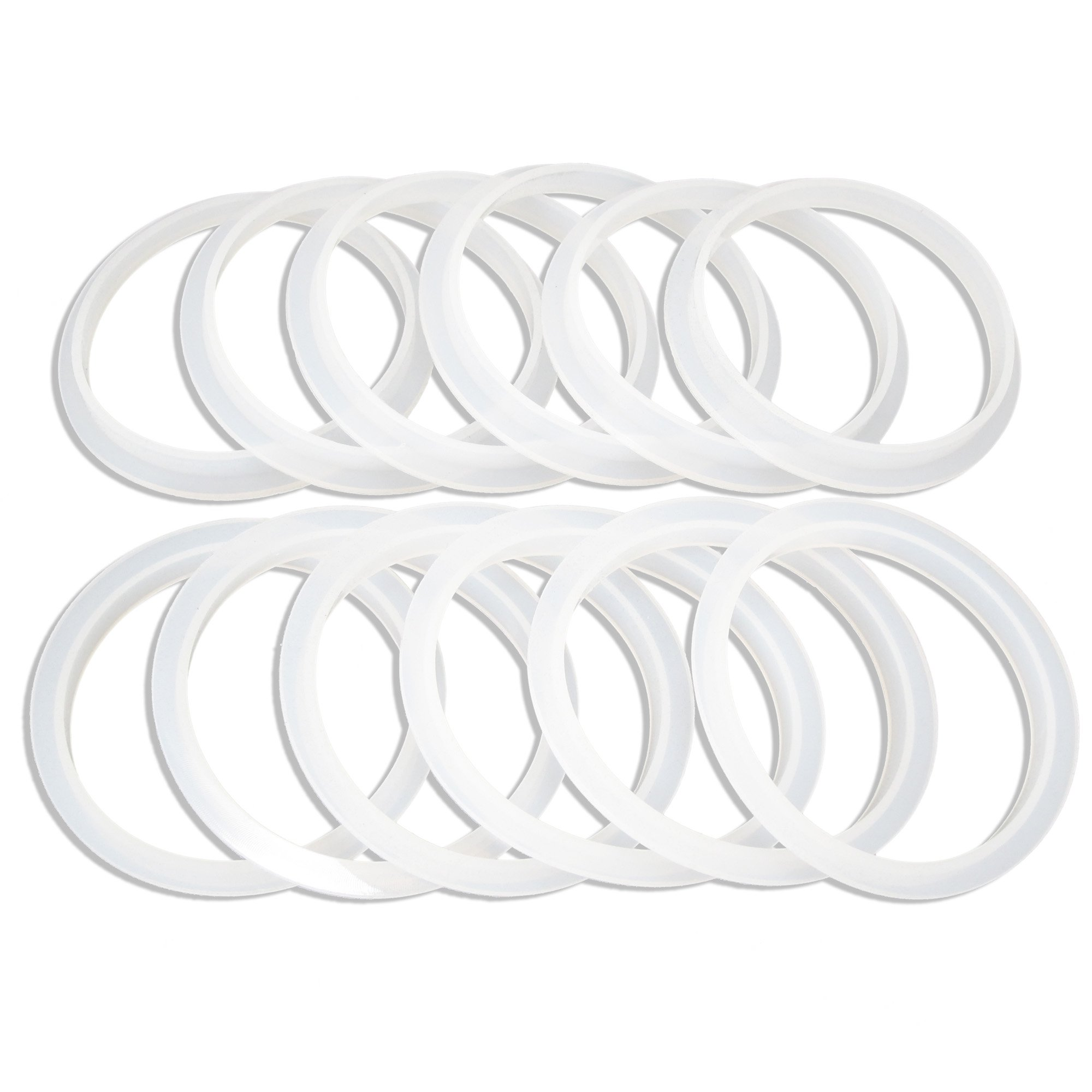 Unique Design, Reusable Silicone Seals for use with Wide Mouth Mason Jars with Plastic Lids, Seal Sits on Rim of Jar Not Inside Lid, Gaskets fit Ball, Kerr And All Wide Mouth Mason Jars - Pack of 12 by County Line Kitchen