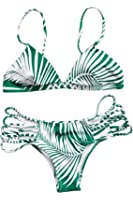 Cupshe Fashion Women's Palm Leaves Printing Halter Bikini Set