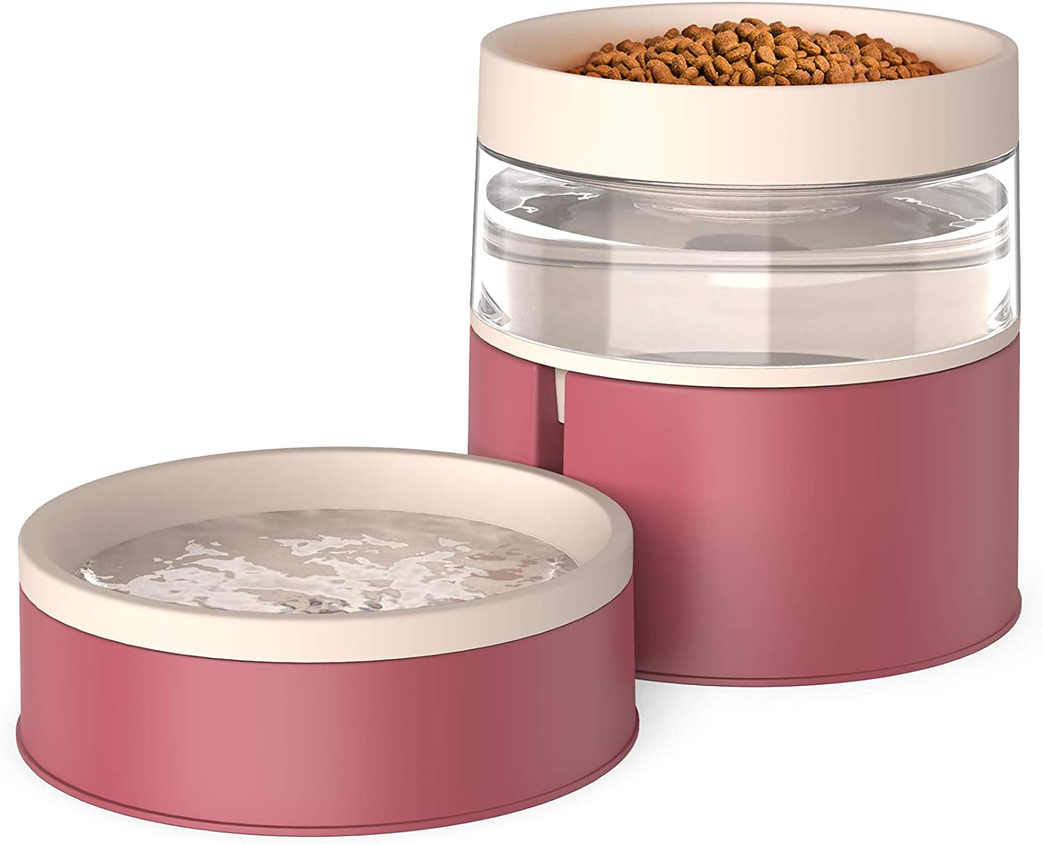 KALUDYA Double Dog Cat Bowls - 2 in 1 Automatic Pet Feeder,Detachable Gravity Water Dispenser and Food Bowl Set for Cats/ Puppies,Upgrade Design Anti Vomiting Raised Cat Bowls-Red