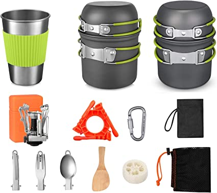 G4Free Camping Cookware Pan Cooking Picnic Two Sets Portable Non Stick Pot Pan Spoon Stove Carabiner with Stainless Steel Cups 19 Pieces for Hiking Backpacking Outdoor