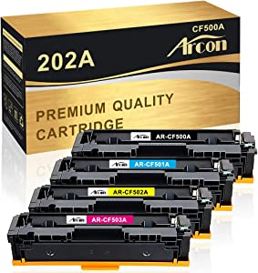 Arcon Compatible Toner Cartridge Replacement for HP 202A HP 202X CF500A CF500X HP Color Laserjet Pro MFP M281fdw M254dw M281cdw M281 M254 M254nw M280nw M281fdn Printer (Black Cyan Yellow Magenta)