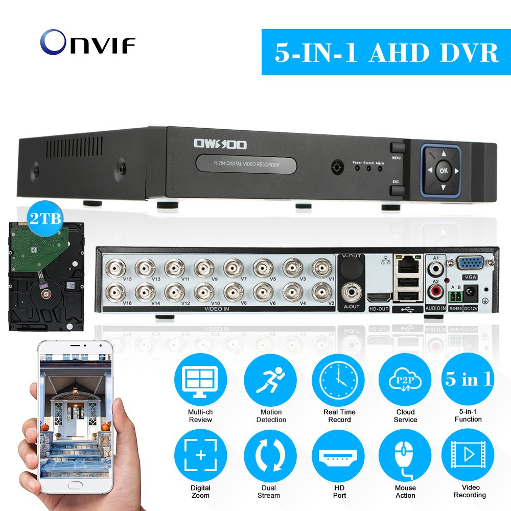 OWSOO 16CH H.264 Full 1080N(9601080) P2P Network DVR CCTV Security Phone Control Motion Detection Email Alarm for Surveillance Camera 4331038518