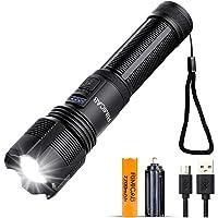 RIMICAB Super Bright XHP50 LED-zaklamp, USB oplaadbare tactische zaklamp, compatibel 18650 (meegeleverd) en AAA-batterij…