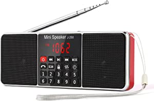 PRUNUS J-288 Portable Radio AM FM Battery Operated Radio with Bluetooth Speaker, Sleep Timer, Power-Saving Display, Ultra-Long Antenna, AUX Input & USB Disk & TF Card MP3 Player(Red)