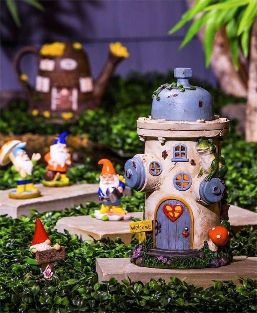 Fairy Garden Mini - Solar Frog Adorned Vintage Hydrant Fairy House