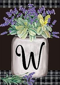 Briarwood Lane Farmhouse Monogram Letter W Garden Flag Floral 12.5