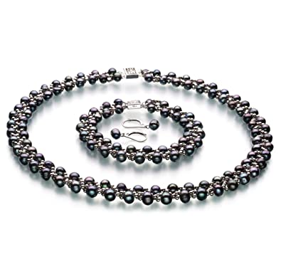 Weave Black 6-7mm A Quality Freshwater Cultured Pearl Set  Amazon.co.uk   Jewellery c53a24b1f