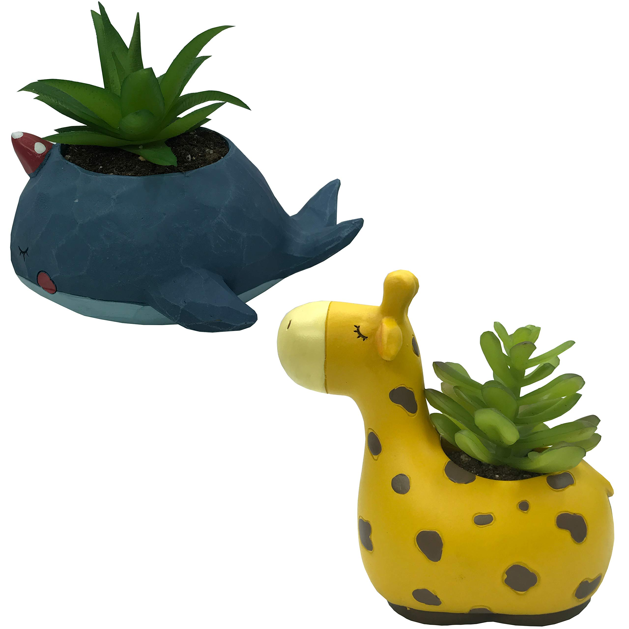 Everyday Better Life 2 PCS Set Cute Cartoon Animal Giraffe Whale Shaped Succulent Cactus Vase Flower Pot for Home Garden Office Desktop Decoration (Plants Not Included)