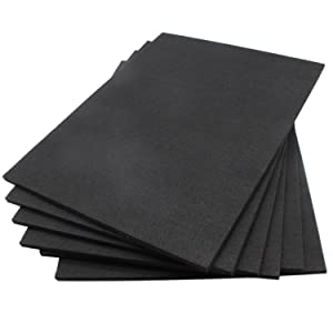 BXI Sound Absorber - Acoustic Absorption Panel - Polyester Fiber - Multiple Color Options - 16'' X 12'' X 3/8'' - 6 PACK (Matte Black)