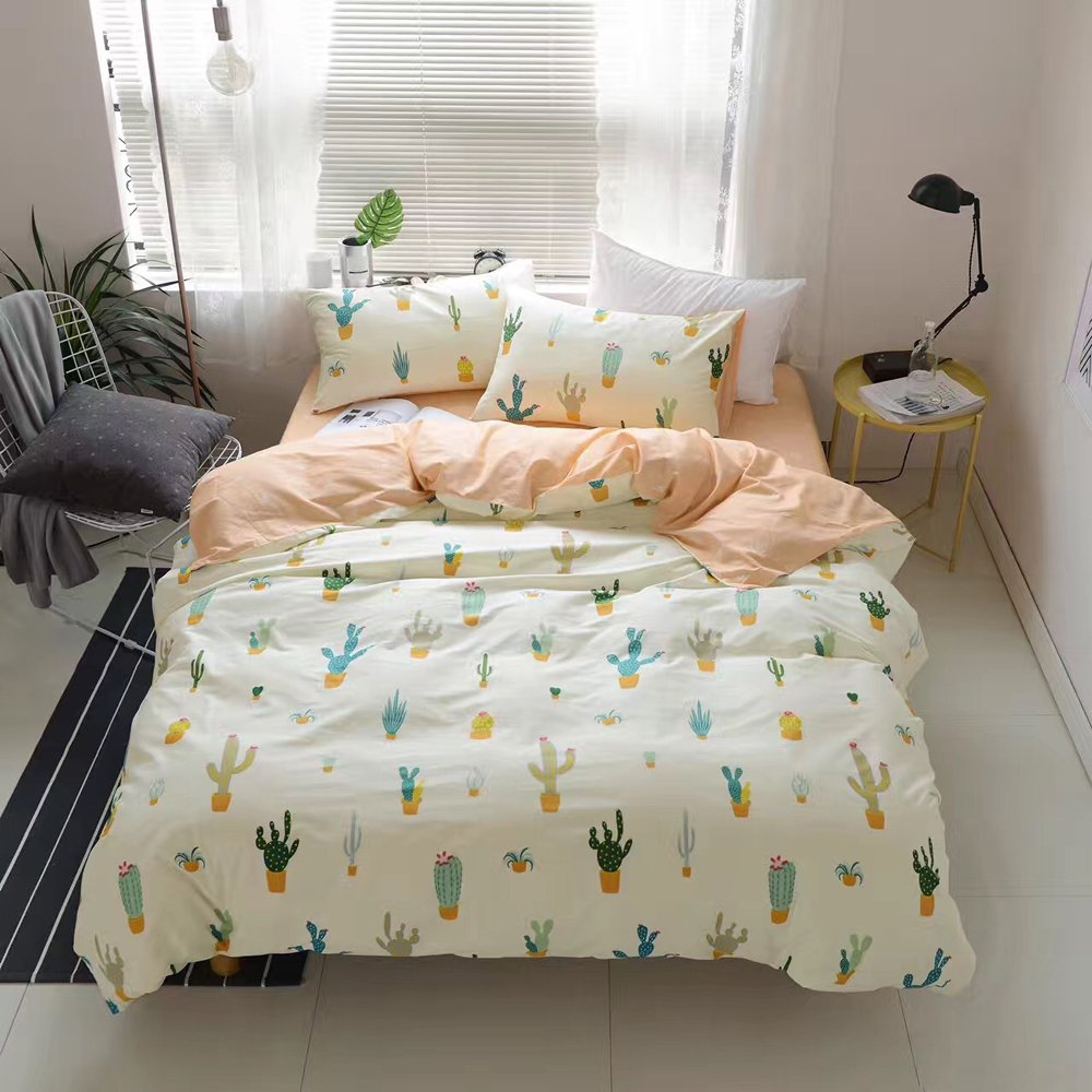 HIGHBUY Cactus Print Kids Twin Duvet Cover Sets Cotton Lightweight Soft Bedding Sets 3 Pieces for Children Girls Bed Collection Zipper Closure 4 Corner Ties