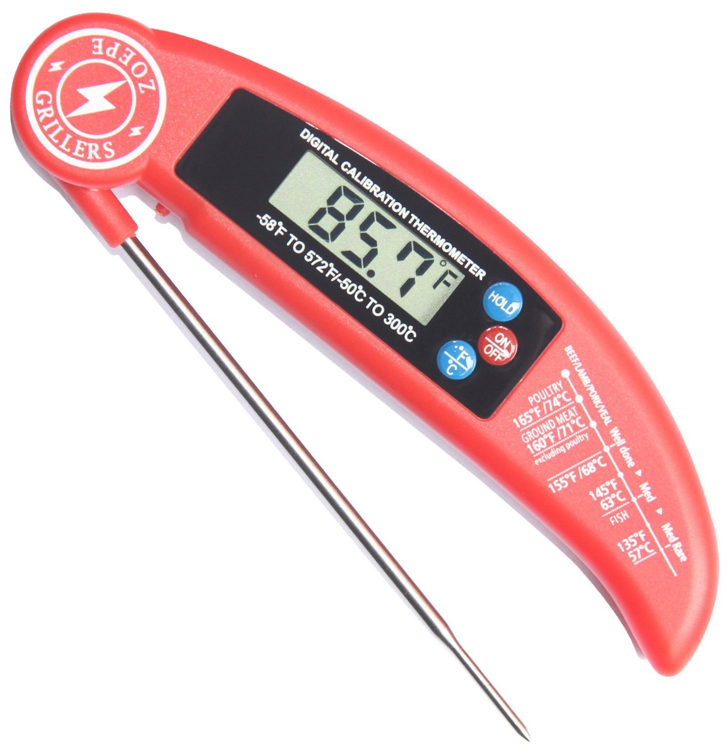 ZOEPE Instant Read Meat Thermometer for Grill and Cooking. UPGRADED MODEL NOW WITH MAGNET AND CALIBRATION FEATURE. Best Ultra Fast Digital Kitchen Probe. Includes Internal BBQ Meat Temperature Guide